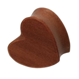 0 Gauge Heart Shaped Organic Red Cherry Wood Double Flared Plug
