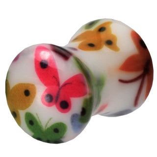 2 Gauge UV Double Flared Butterfly Ear Plug