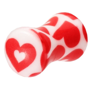 4 Gauge Double Flared Pink Heart Ear Plug