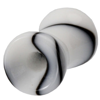 4 Gauge Black & White Marble UV Hollow Ear Tunnel