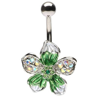 Green Crystals Tropical Hawaiian Flower Belly Button Ring