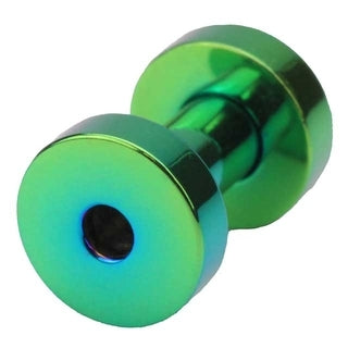 8 Gauge Screw Fit Flesh Tunnel Green Titanium Plated - Sold Individually