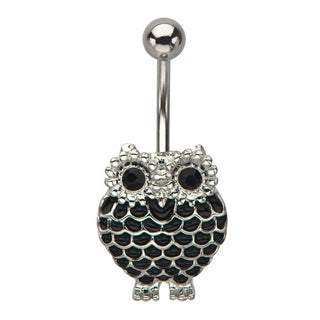 Black Owl Belly Ring