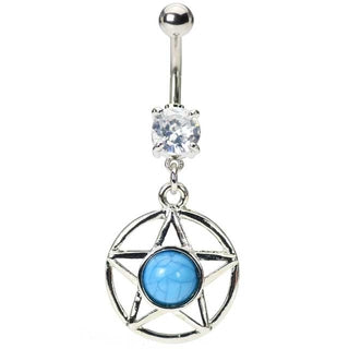 Turquoise Star Belly Button Ring