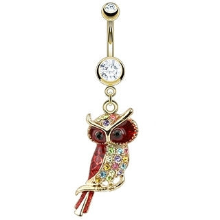 Multicolor Owl Belly Ring