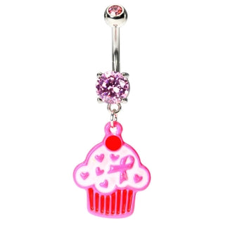 Pink Ribbon Cupcake Belly Button Rings