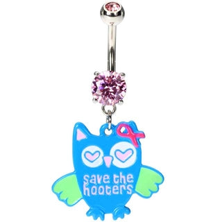 Breast Cancer Awareness Owl Belly Rings