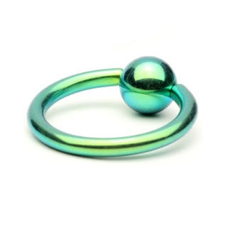 Green Titanium Captive Bead Ring