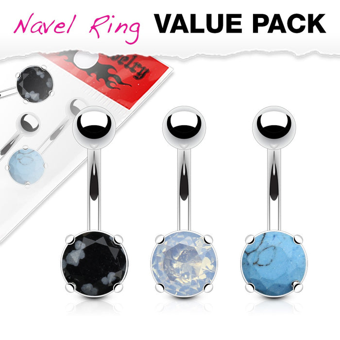 3 Pack Precious Stone Belly Rings