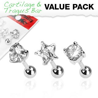 3 Pack CZ Cartilage Rings