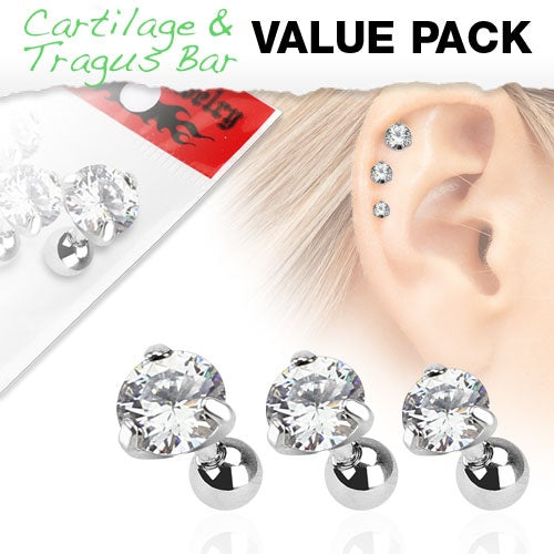 3 Pack Clear Round Cartilage Rings
