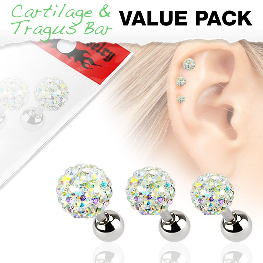 3 Pack Iridescent Ferido Ball Cartilage Rings