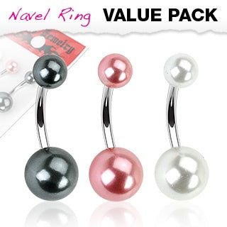 3 Pack Faux Pearl Belly Rings