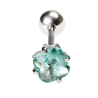 Aqua Square CZ Tongue Barbell