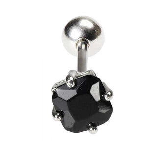 Black Square CZ Tongue Barbell
