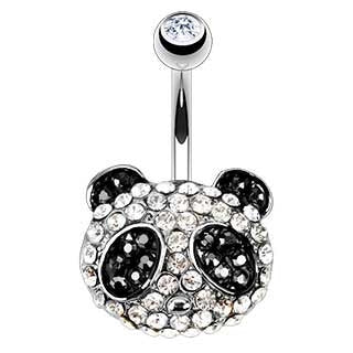 CZ Paved Panda Belly Button Ring