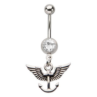 Winged Anchor Belly Button Piercing Ring Belly Bling