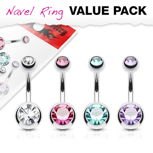 4 Pack Double Gem Belly Rings