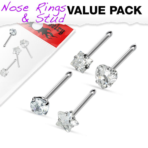 4 Pack Clear Prong Set CZ Gem Nose Bones