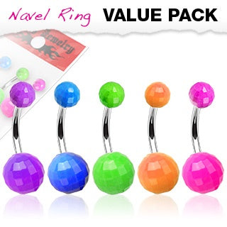 5 Pack Disco Balls Belly Rings
