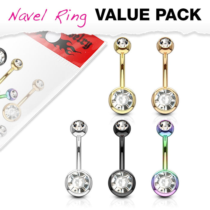 5 Pack Double Jeweled Belly Rings