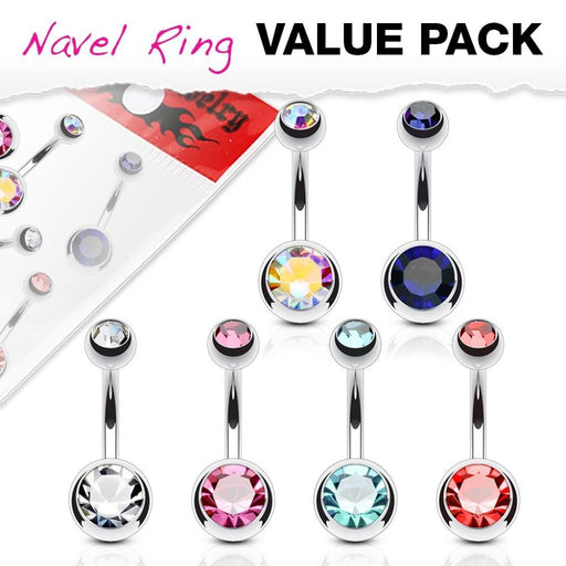 6 Pack Double Gem Belly Rings