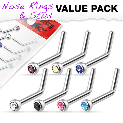 7 Pack L Bend Nose Rings