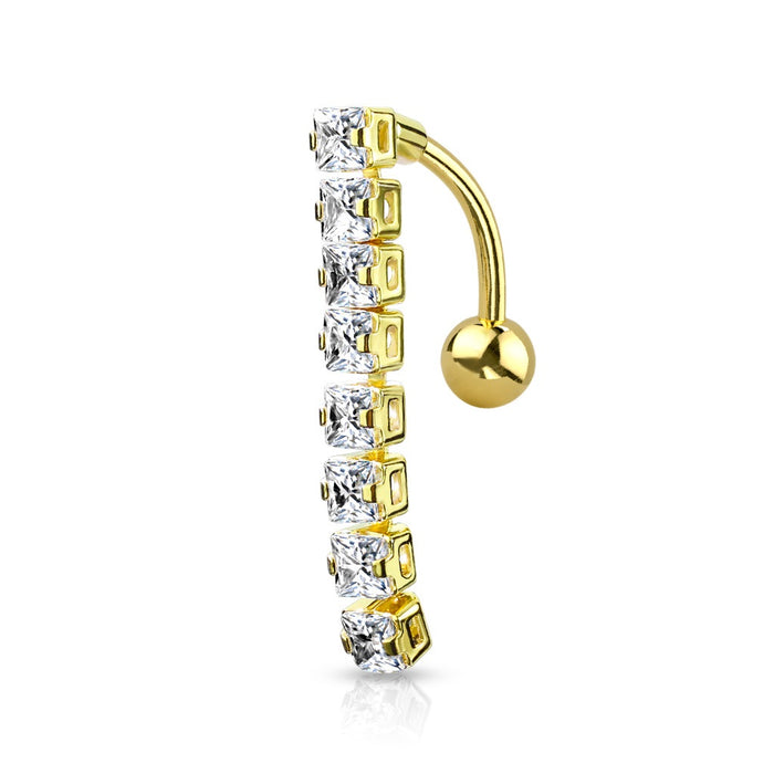 8 Square CZ Top Drop Belly Ring - Gold Plated