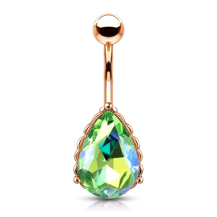 Green Iridescent Rose Gold Belly Ring