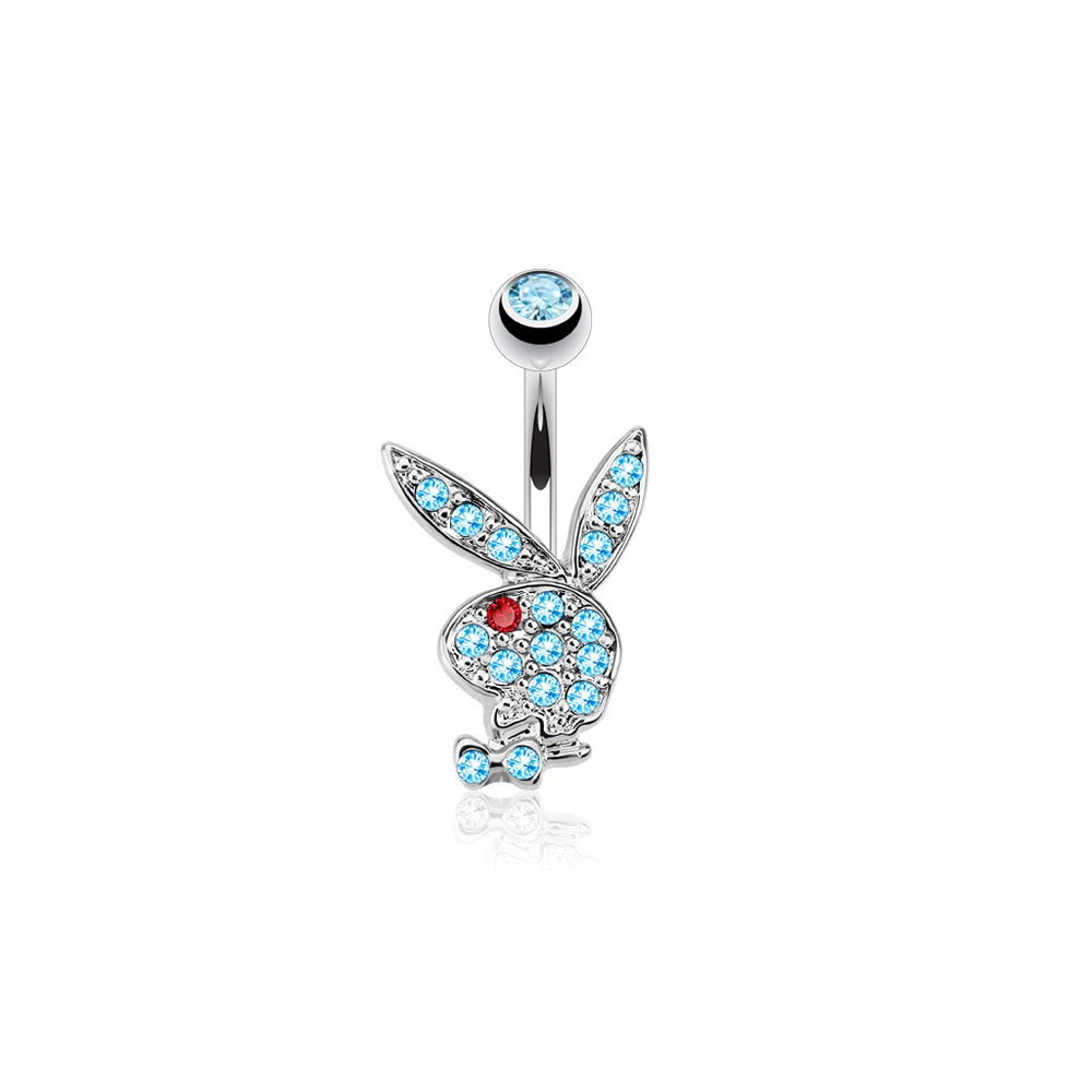 Playboy Bunny Multi Gem Belly Ring-Aqua