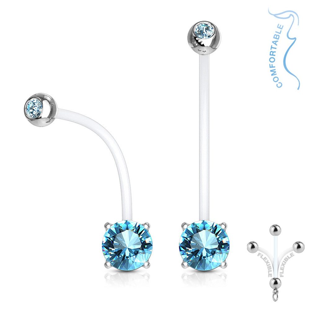 Aqua Jeweled Prong Set Pregnancy Belly Ring