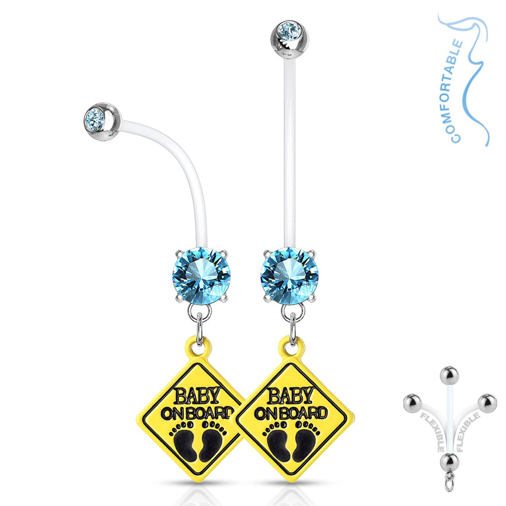 Aqua Baby On Board Pregnancy Belly Ring