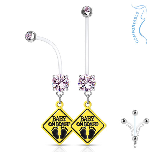 Pink Baby On Board Pregnancy Belly Ring