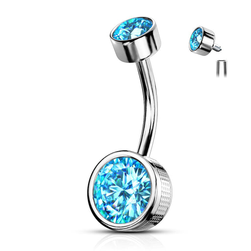 Bezel Set Aqua CZ Internally Threaded Belly Ring