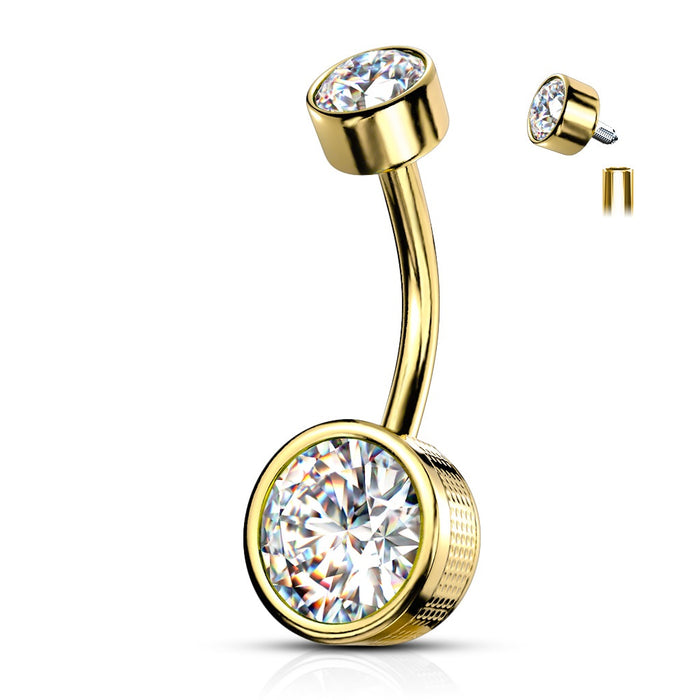 Bezel Set Golden CZ Internally Threaded Belly Ring