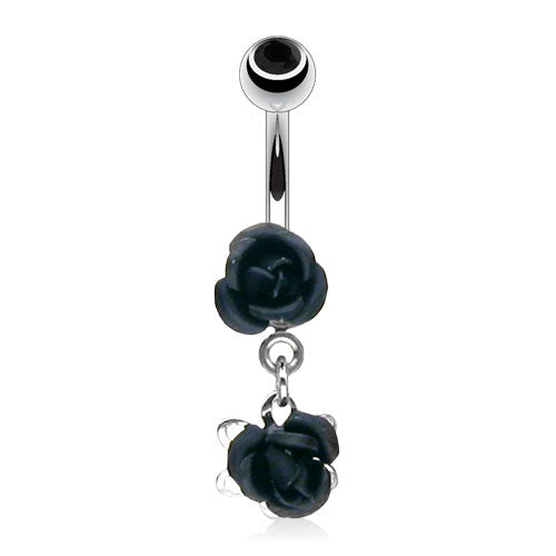Black Dangling Mini Roses Belly Ring