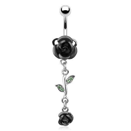 Black Dangling Roses Belly Ring