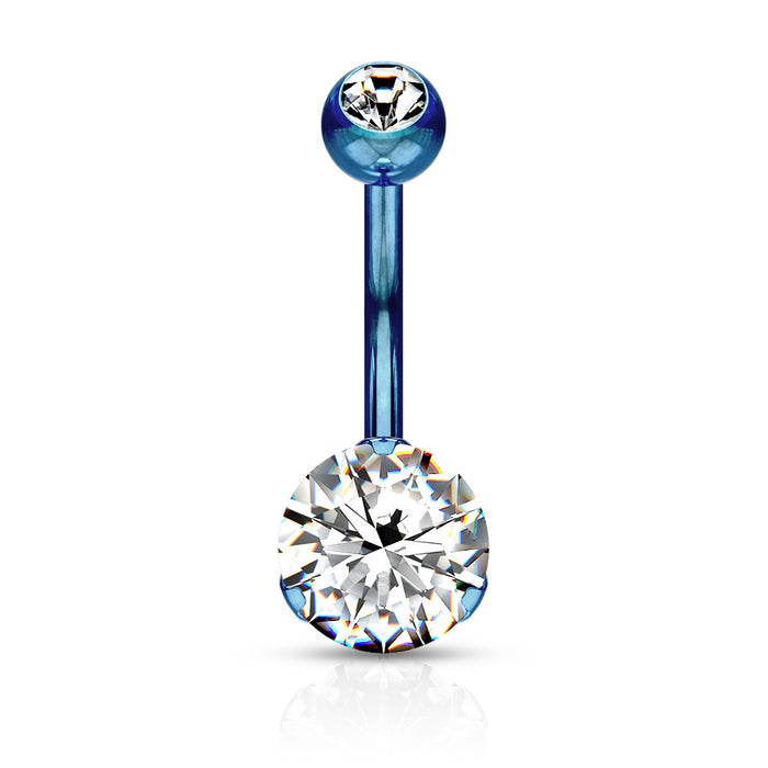 Titanium Prong Set Belly Ring - Blue