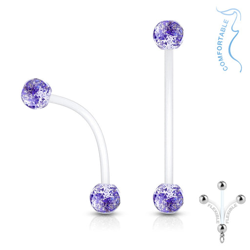 Blue Pregnancy Glitter Ball Belly Ring