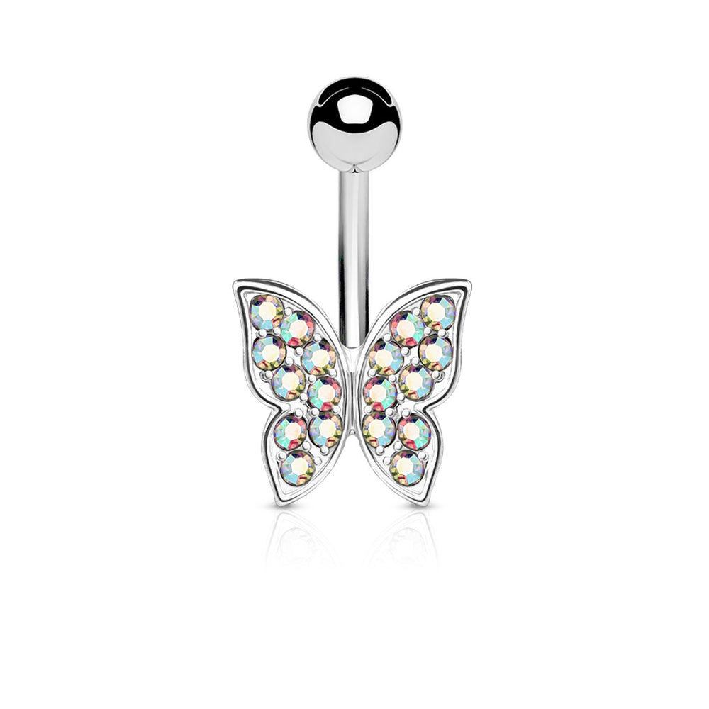 Iridescent Crystal Paved Butterfly Belly Ring