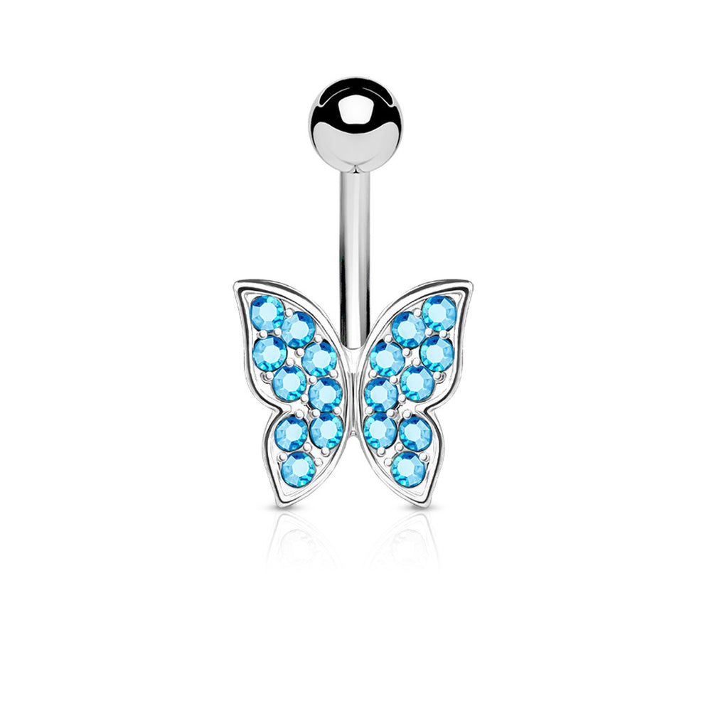 Aqua Crystal Paved Butterfly Belly Ring