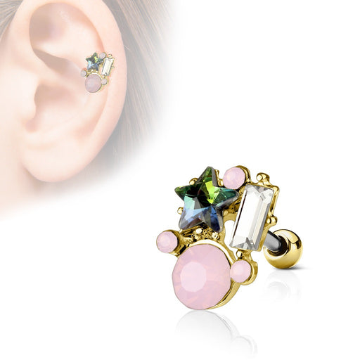 Star and Opalite Cluster Cartilage Ring - Gold Plated