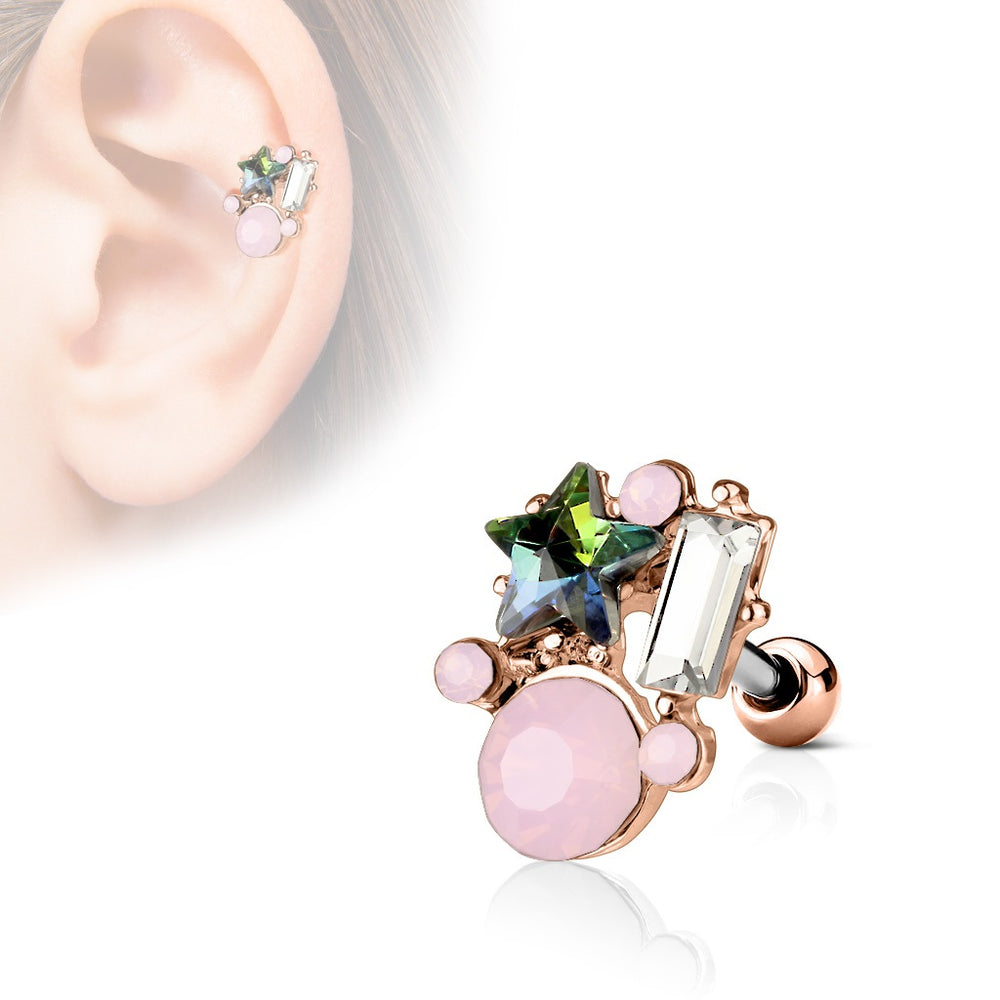 Star and Opalite Cluster Cartilage Ring - Rose Gold