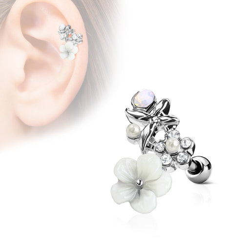 CZ and Flowers Cartilage Ring