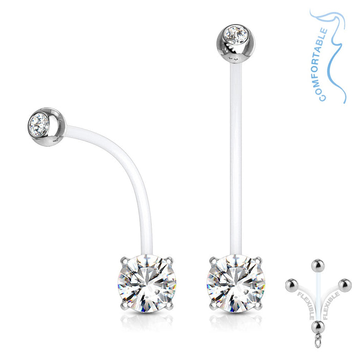 Clear Jeweled Prong Set Pregnancy Belly Ring