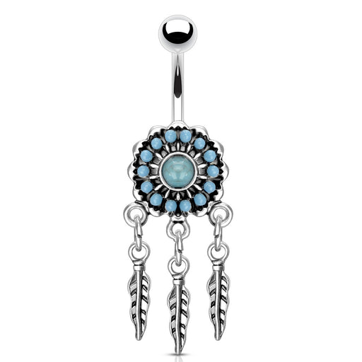Turquoise Paved Dream Catcher Belly Ring