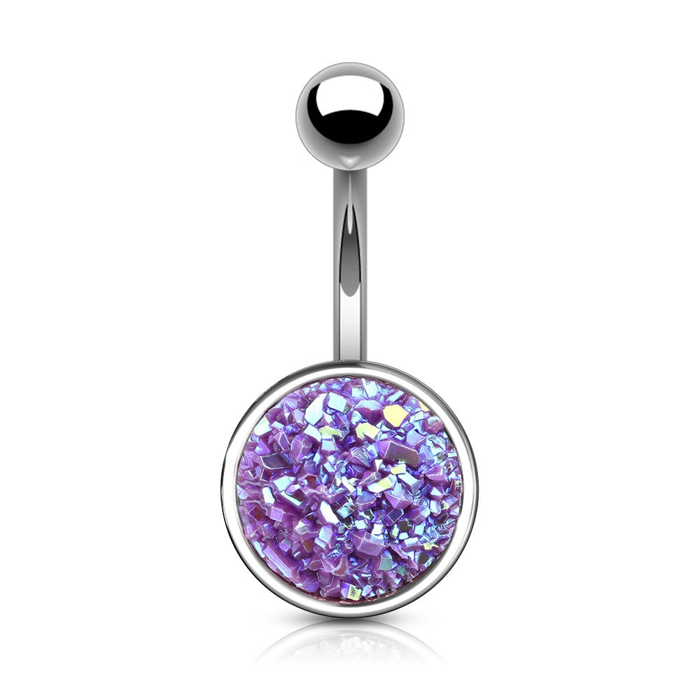 Druzy Stone Purple Belly Ring