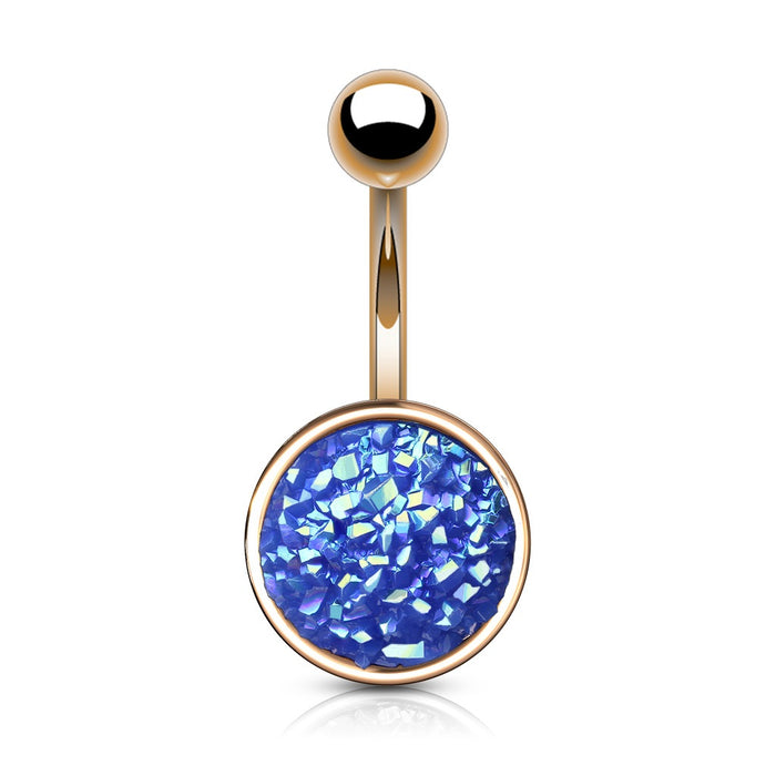 Rose Gold Druzy Stone Blue Belly Ring