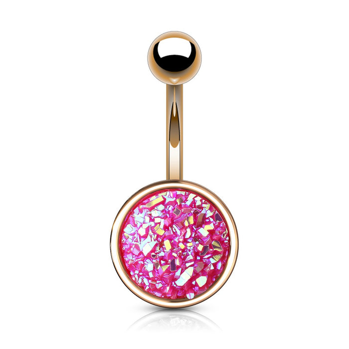 Rose Gold Druzy Stone Pink Belly Ring