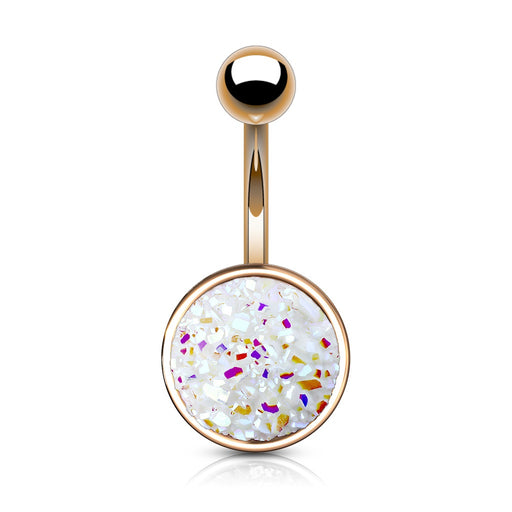 Rose Gold Druzy Stone White Belly Ring